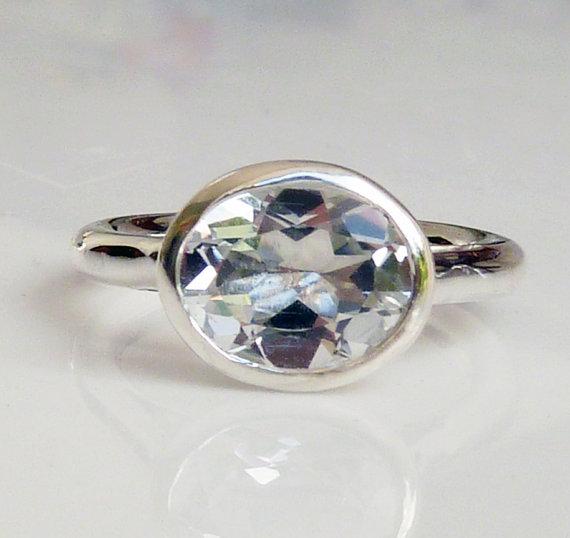 زفاف - Large white topaz engagement ring, white topaz solitaire