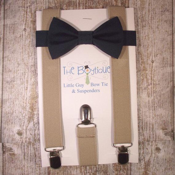 زفاف - Navy Bow Tie and Suspenders: Tan Suspenders, Toddler Suspenders, Baby, Kids, Wedding, Ring Bearer, Favor, Gift, Winter Wedding, Khaki, Beige