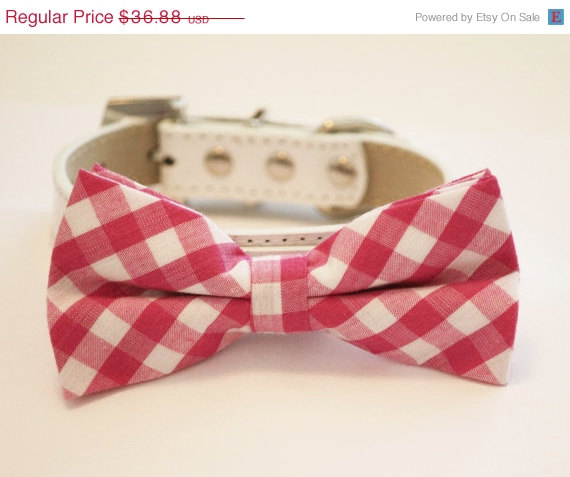 Mariage - Plaid Pink Dog Bow tie with High Quality White Leather Collar, Cute Dog Bow tie, Cute Pink Dog Bow tie