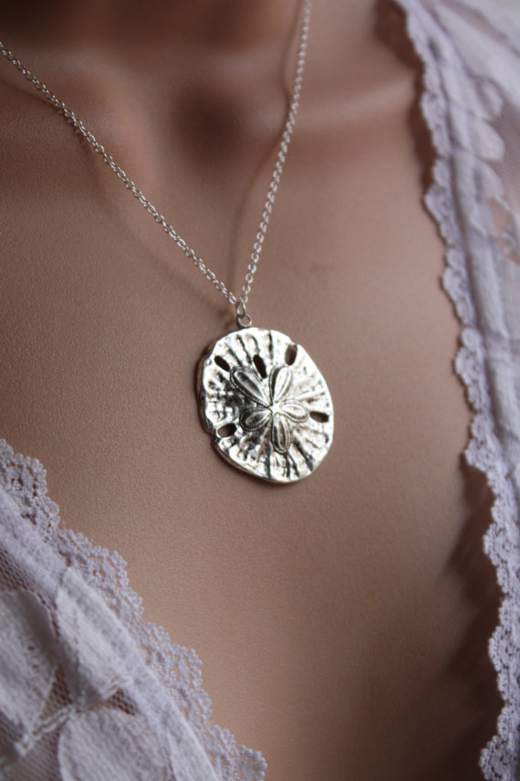 Mariage - Sterling Silver Sand Dollar, Sand Dollar Necklace, Sand Dollar Pendant Sand Dollar Jewelry Beach Wedding
