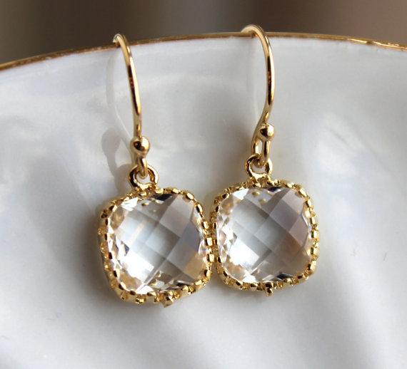 Mariage - Dainty Small Gold Crystal Earrings - Crystal Clear Bridesmaid Earrings - Wedding Earrings - Gold Wedding Jewelry - Gold Bridal Earrings
