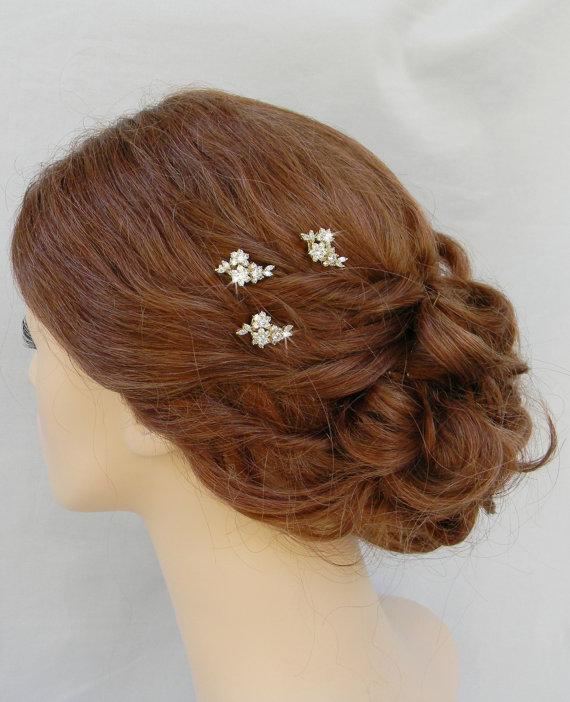 Свадьба - Gold Bridal Hair Pins, Gold Wedding Hair clip, Vintage style hairpins, Swarovski crystal hair comb, Rhinestone, Piper Hair Pins