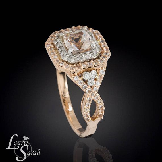 زفاف - Cushion Cut Morganite Ring, Morganite Engagement Ring, White Sapphire Ring, Rose Gold Morganite Ring, Doubnle Halo Engagement Ring - LS3760