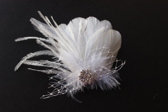 Mariage - Sale 25% off Feather Bridal hairpiece birdcage french russian veil hair clip bobby pin Ivory  white rhinestone