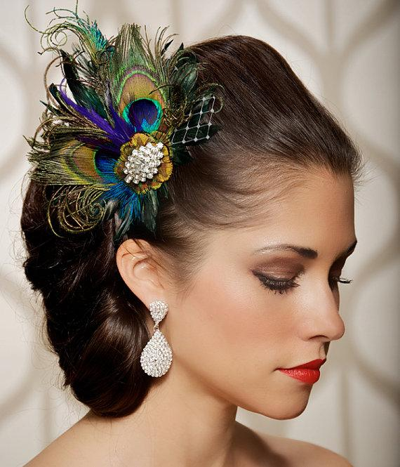 Royal Blue Peacock Hair Clip Bridal Head Piece Peacock Feather Fascinator  Wedding Hairpiece Sapphire Vintage 2f6cbc6d486