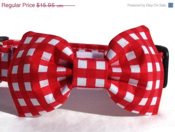 زفاف - DADS DAY SALE Dog Bow Tie in Red and White Gingham Check for Small to Large Dogs