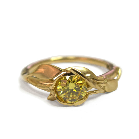Leaves Engagement Ring No 6 18K Yellow Gold And Yellow Diamond
