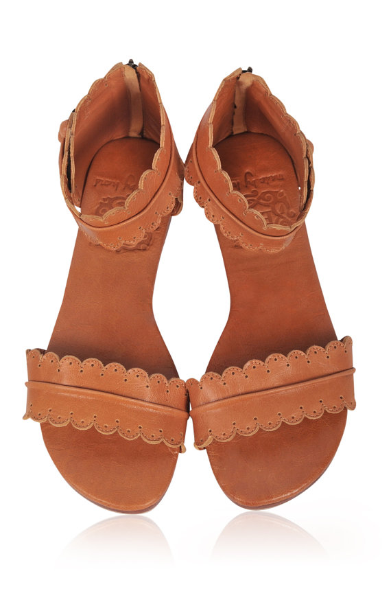 Wedding - MIDSUMMER. Leather sandals  / women shoes /  leather shoes / flat shoes / tan leather. sizes 35-43. Available in different leather colors.