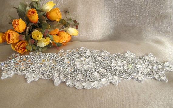Hochzeit - Beaded Bridal Wedding Rhinestones Sash Belt with  crystal beads