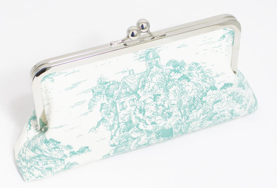 Mariage - Toile Clutch - Wedding Clutch - Bridesmaid Clutch - Choice of Colors