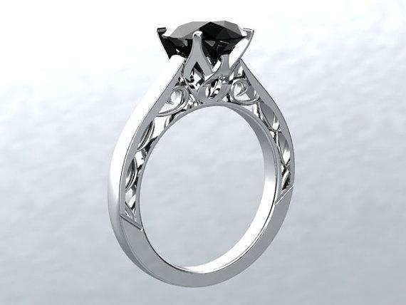 زفاف - VICTORIAN LOVE 14kt White Gold 1.40ct Round Black Moissanite Sollitaire Engagement Ring Wedding Ring Anniversary Ring Birthstone