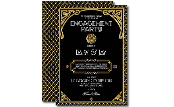 Свадьба - Gatsby Engagement Invitation Black and Gold Printable Invitation Art Deco 5x7 Inch