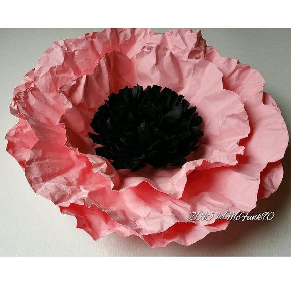 زفاف - Weddings Handmade Large14 Inch Paper Poppy in the color of your choice