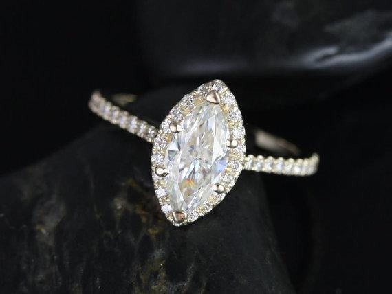 زفاف - Sasha 10x5mm 14kt Yellow Gold Marquise FB Moissanite and Diamond Halo Engagement Ring (Other Center Stone Available Upon Request)
