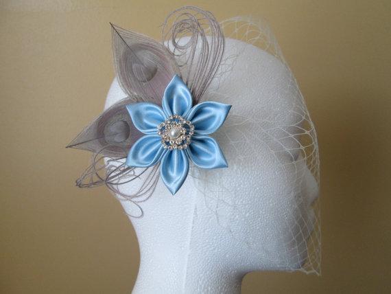 Mariage - Light Blue Wedding Fascinator, Silver Peacock Fascinator, Bridal Kanzashi Hair Flower, Head Piece, Birdcage Veil, Pastel Vintage Wedding