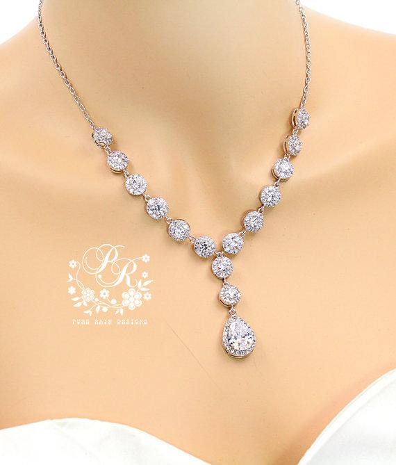 Mariage - Wedding Necklace Zirconia Necklace Wedding Jewelry Bridal Necklace Zirconia Pendant Necklace Wedding Accessory Statement Necklace Zuma Tvis