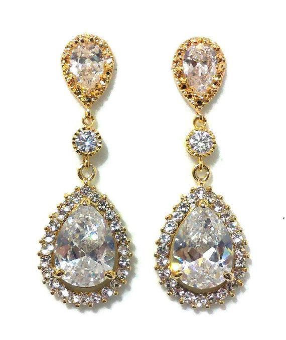زفاف - Gold Bridal Earrings, Pave Cubic Zirconia Earrings, Cz Teardrop Jewelry, SONATA