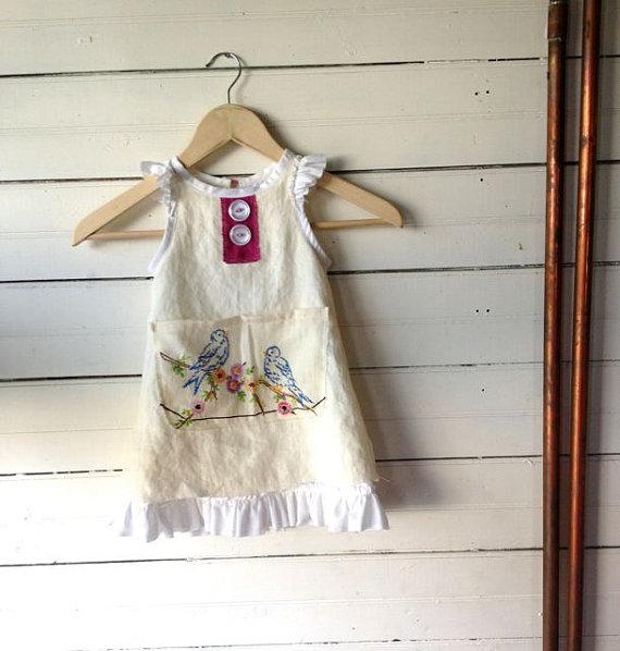 Wedding - Custom Linen Flower Girl Dress, Boho Flowergirl, Rustic Barn Wedding, One of a Kind Flower Girl Dress