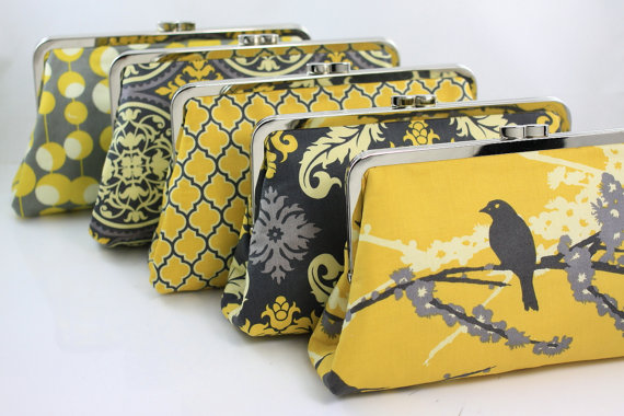 Mariage - Grey and Yellow Custom Bridesmaid Clutches / Rustic Wedding Purse Clutch / Wedding Gift - Set of 6