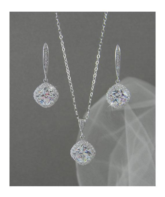 Hochzeit - Crystal Bridal Set, Bridesmaids Jewelry Set, Cushion Cut Swarovski Crystal Pendant and Earrings, Wedding Jewellery, Molly Bridal Jewelry SET