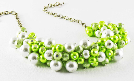 Hochzeit - Lime Green Chunky Necklace, Summer Wedding Necklace Set, Pearl Cluster  Necklace,Bridesmaid Jewelry, Bridal Gift, Statement Necklace,