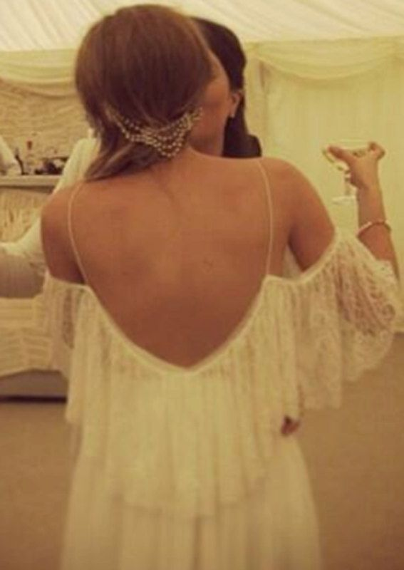 Beautiful Low Back Off The Shoulder French Lace Wedding