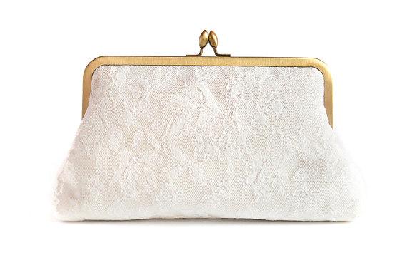 Hochzeit - Wedding Purse Vintage French Lace Ivory Dupioni Silk Something Blue Bridal Plain Clutch Ready to Ship