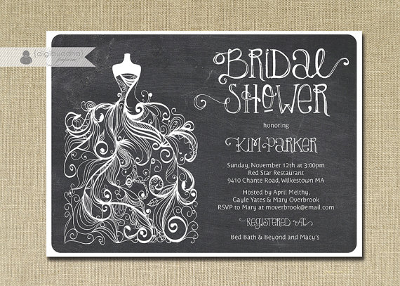 chalkboard bridal shower invitation gown sketch black white chalk classic wedding invite free priority shipping or diy printable kim