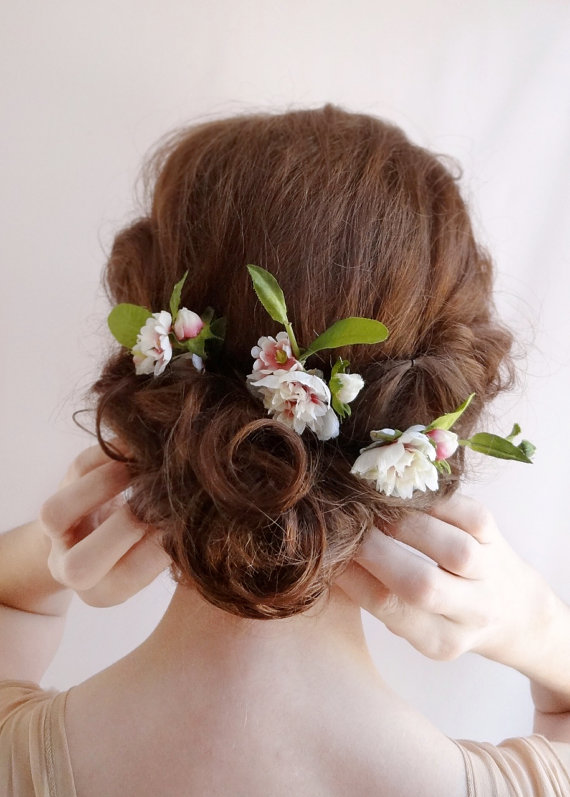 Wedding - bridal hair flower, flower hair pins, wedding hairpiece, pink, ivory flower, bridal hair clip, wedding hair flowers, hair accessories, peony