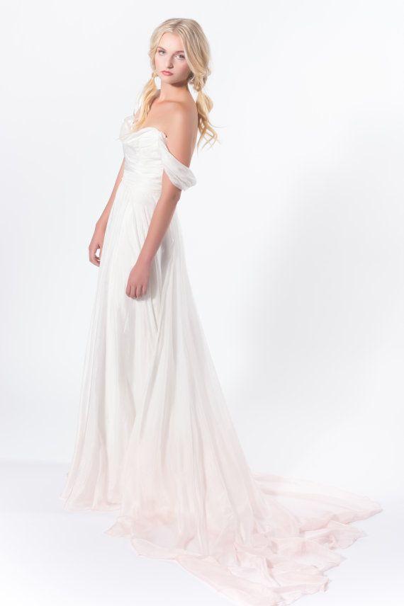 Свадьба - Before Sunset - Ivory Silk Dip Dye Wedding Dress- Blush Dip Dye, Alternative Wedding Gown With Train