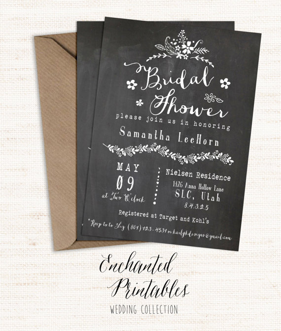 Beautiful Chalkboard Bridal Shower Invitation, Printable Bridal Shower Invite, Rustic  Invitation, Bridal Shower Invitation, Vintage Wedding Shower