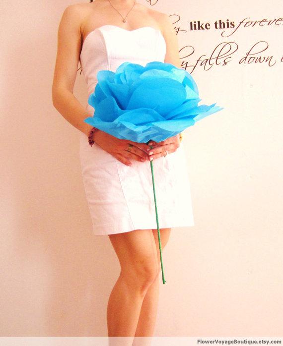 Свадьба - Oversized long stem paper flower. Bride bridesmaid bouquet. Baby shower, party. Beach, Summer, Spring. Handmade