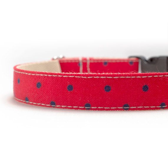 زفاف - Dog Collar - Navy Polka Dots on Red