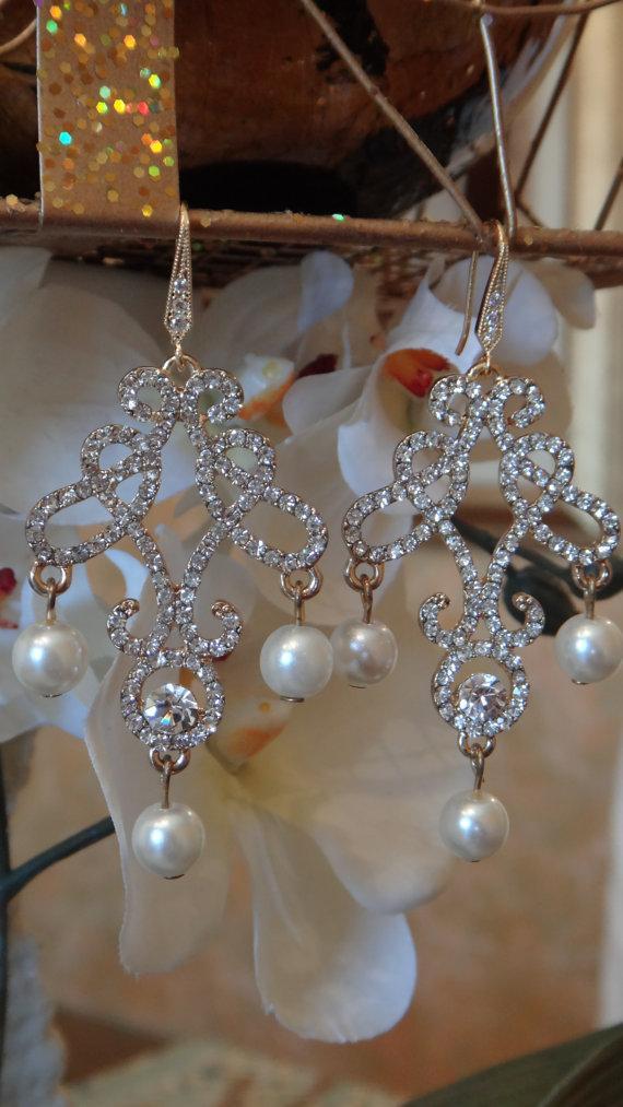 Hochzeit - Jeweled Pearls Swarvoski Crystal Earrings, Chandelier Earrings, Wedding Jewelry, Bridal Earrings, Crystal Earrings, Dangle Earrings