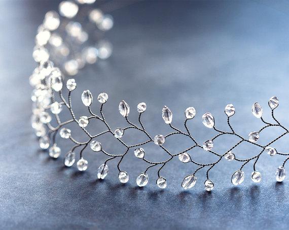Hochzeit - Diadem crystals, Hair accessories, Diadem bride, Silver headband, Diadem bridal, Wedding diadem, Twig diadem, Gift for her, Hair piece.