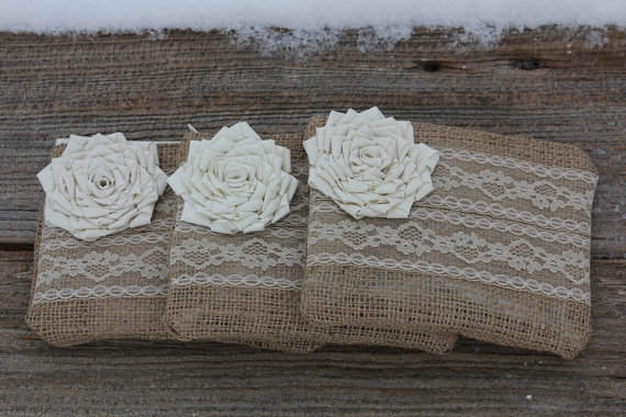 Hochzeit - 3 Burlap and Lace Wedding Clutches - Bridesmaid Clutch - Bridal Party - You Choose The Color Flower and Lining