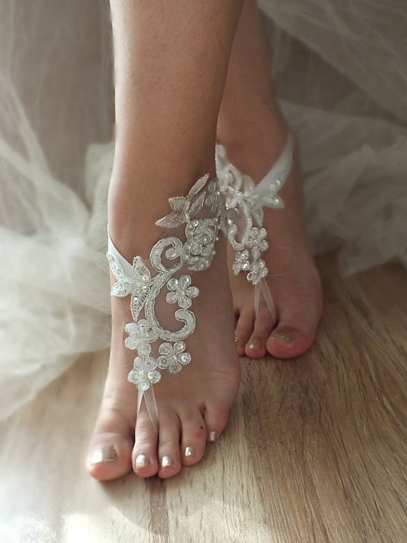 Hochzeit - ivory silver frame barefoot sandals, embroidered sandals, ivory Barefoot , french lace sandals, wedding anklet, FREE SHIP