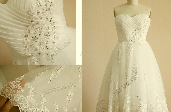 Wedding - Vintage Inspired Taffeta Tulle Beaded Lace Wedding Dress Strapless Sweetheart Knee Length Short Dress