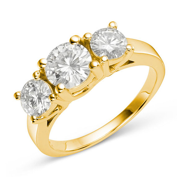 Mariage - 2 CT TW DEW Three Stone 14k Yellow Gold Engagement Ring