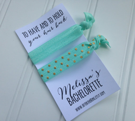 CUSTOM SET Of 3 Hair Ties Bachelorette Party Favors Personalized Bridesmaid Gifts Girls Night Out Elastic Tie Card