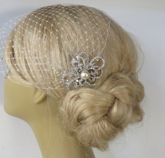 Hochzeit - Birdcage Veil and a Bridal Hair Comb (2 Items),bridal veil,Weddings, Jewelry, Sterling Silver, Rinestone, Crystal,pearl