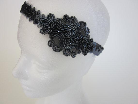 Düğün - Great Gatsby Sequin Headband Flapper Style Pewter Gray Great Gatsby Art Deco 1920s Beaded Headpiece