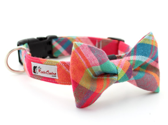Mariage - Colorful Flannel Plaid Dog Collar - Purple, Aqua, Pink & Yellow (Matching  Dog Bow Tie Available Separately)