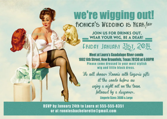 Vintage Pin Up Girl Wig Party Invitation Bachelorette Party Hens – Vintage Bachelorette Party Invitations