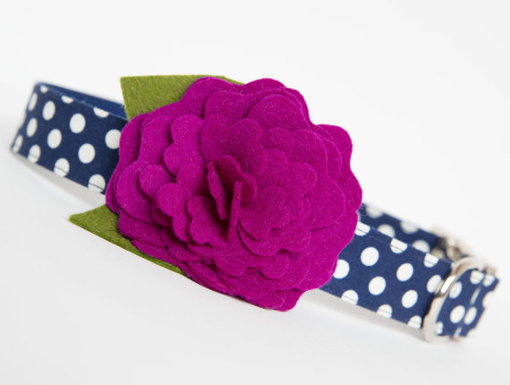 Mariage - Dog Collar with Flower - Plum Camellia on Navy Polka Dots