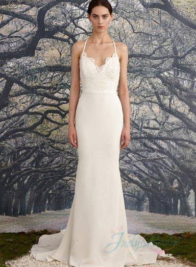 Wedding - criss cross straps backless sheath wedding dress