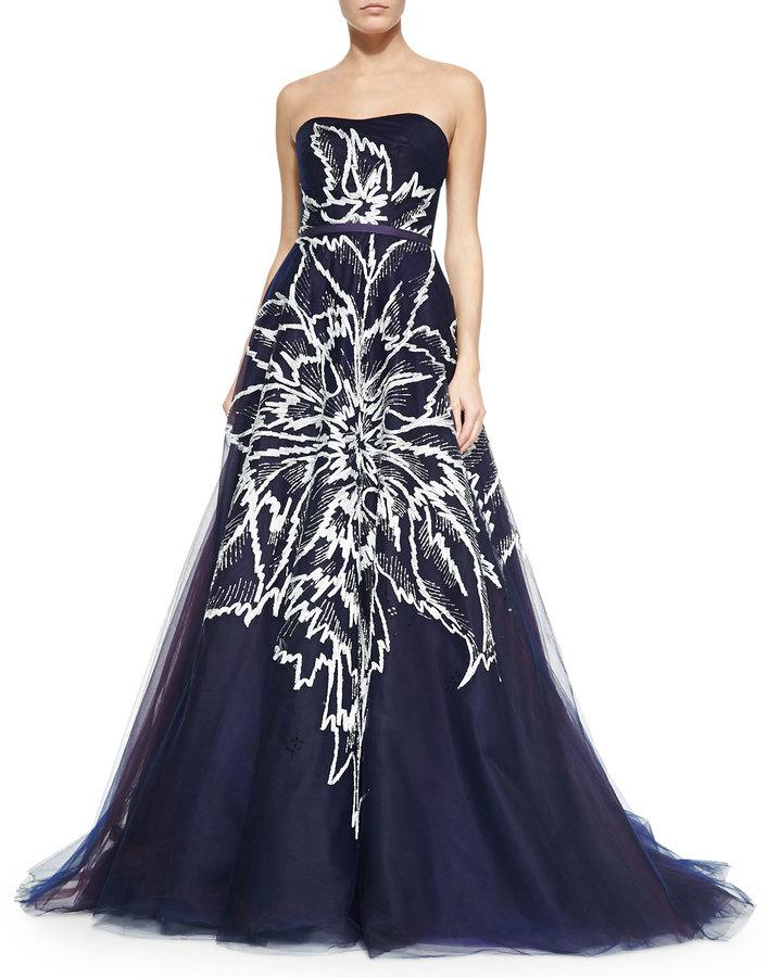 Carolina Herrera Strapless Floral Embroidered Tulle Ball Gown Navy