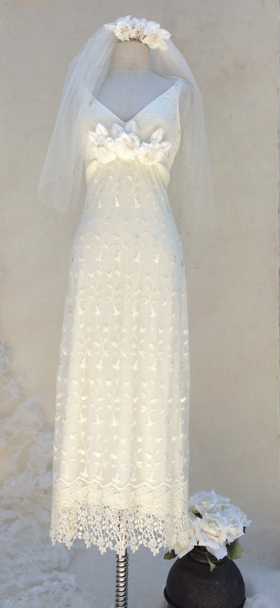 Wedding - Lace Ivory Wedding Dress,