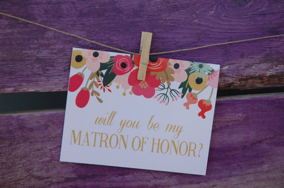 Hochzeit - Will You Be My Matron of Honor: Peach Floral Banner Card