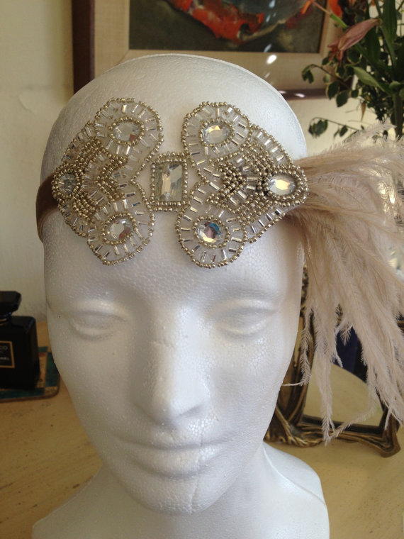 Mariage - Gatsby wedding dress headpiece, Great Gatsby Dress Black OR Beige Feather 1920s headband for 1920s dress